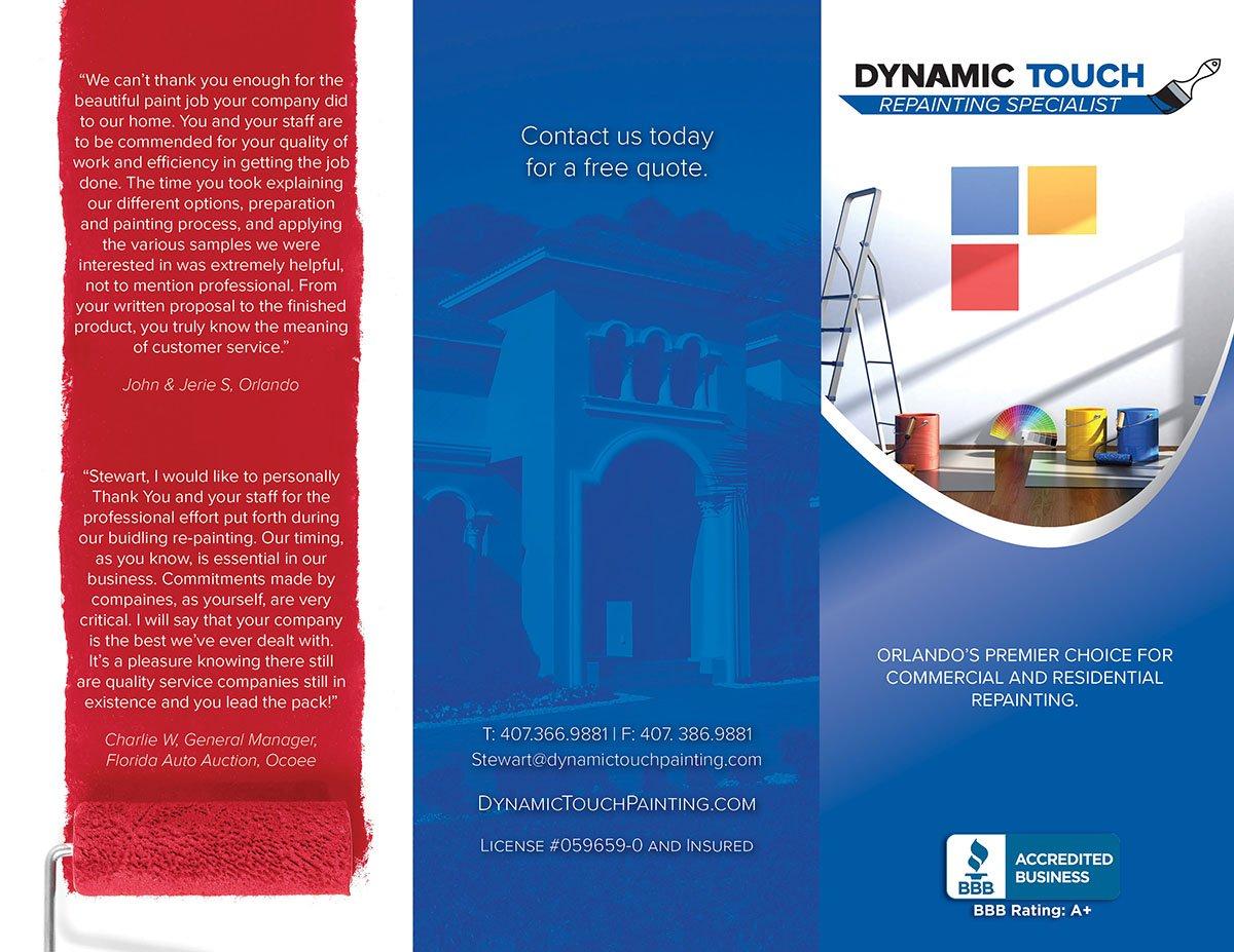 Dynamic Touch tri fold brochure side 1